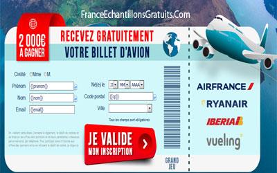 Jeu Concours Billet D Avion De 2000 Euros Echantillons Gratuits France