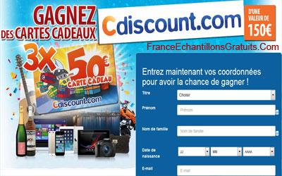 bon d achat ou carte cadeau cdiscount Jeu concours bons d'achats cdiscount   Échantillons Gratuits France