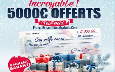 Jeu concours chèque cadeau de 5000€ pour Noël