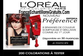 Test de produit Coloration Préférence Infinia de L'Oréal Paris