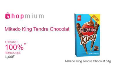 Mikado King Tendre Chocolat 100% remboursé