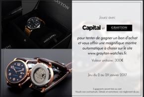 Concours gagnez 5 bons d'achat Grayton watches de 300 euros
