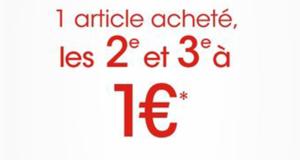 1 article acheté, le 2ème et 3ème à 1€