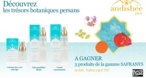 22 lots de 3 produits de soins Safranys d'Andishée