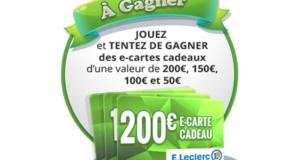 Concours gagnez 1 e-carte E.leclerc de 200 euros