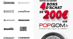 4 bons d'achat POPGOM de 200 euros