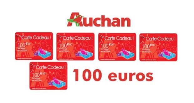 6 cartes cadeau auchan de 100 euros chantillons gratuits france. Black Bedroom Furniture Sets. Home Design Ideas