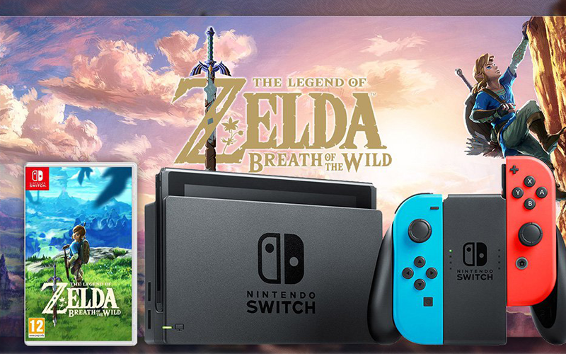 console nintendo switch avec 1 jeu zelda breath of the. Black Bedroom Furniture Sets. Home Design Ideas