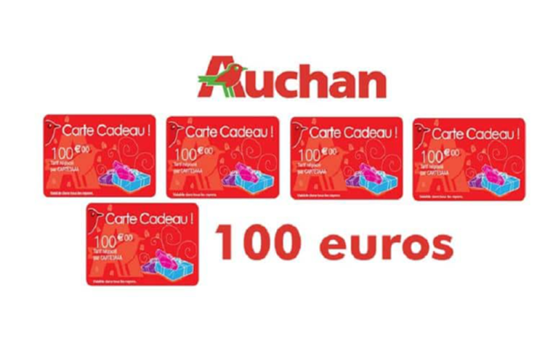 cartes cadeau auchan de 100 euros chantillons gratuits france. Black Bedroom Furniture Sets. Home Design Ideas