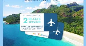 2 billets d'avion AR à destination des Seychelles
