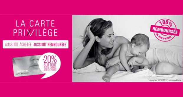Carte Privilège Aubert 100% remboursée