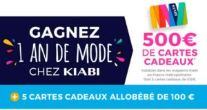 500 euros de cartes cadeau Kiabi