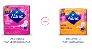 Échantillons gratuits de Serviettes Nana Ultra Normal et Ultra Normal Plus