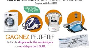 Chèque de 3000 euros Ou un lot de 4 appareils électroménagers