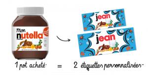Pot Nutella = 2 étiquettes personnalisées offertes