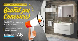 Meuble de salle de bain + vasque désaxée + miroir