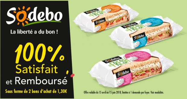 Sandwich Le Fresh Sodebo 100% remboursé