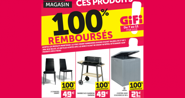 3 produits Gifi 100% remboursés (barbecue, chaises et coffre)