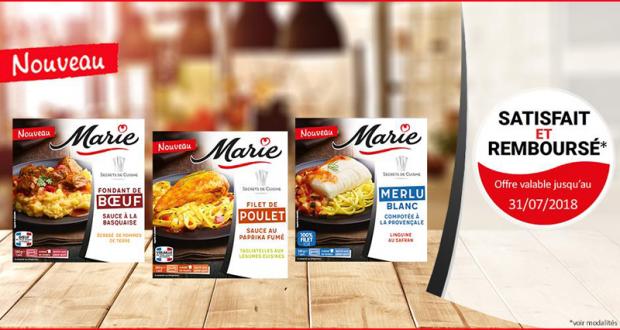Produits de la gamme Secrets de cuisine Marie 100% Remboursés