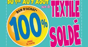 100% remboursés en bons d'achats sur le Textile Soldé