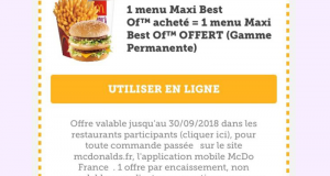 1 menu Maxi Best Of acheté = 1 Menu Best Of Offert
