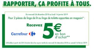 Carrefour Reprise de linge = 5€ en bon d'achat offerts