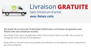 Livraison Offerte en Relais Colis sans minimum d'achat