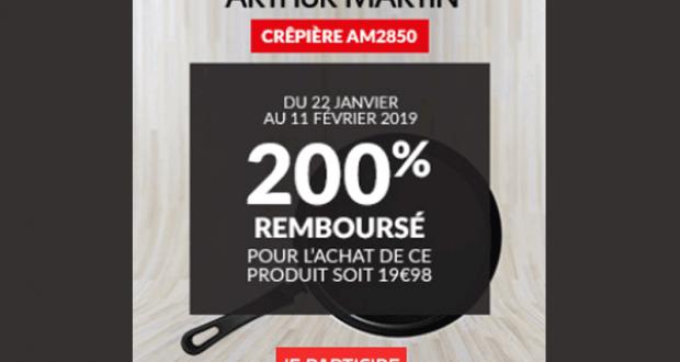 Crêpière Arthur Martin AM2850 200% remboursée