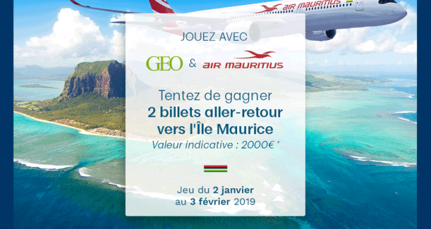 Lot de 2 billets AR à destination de l'Île Maurice