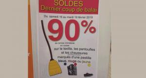 -90% de réduction sur tous les articles textiles soldés