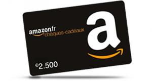 4 chèques cadeau Amazon de 2500 euros