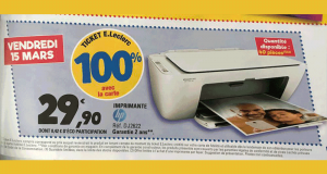 Imprimante multifonction HP Deskjet 2622 100% remboursé