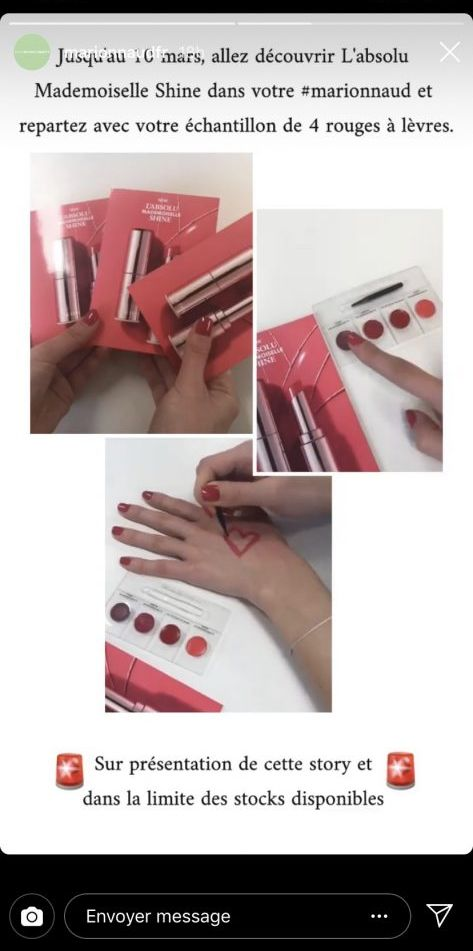 Échantillons gratuits de 4 rouges à lèvres de Lancôme