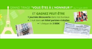 Chèque de 3000 euros avec 1 nuit d'hôtel à Paris