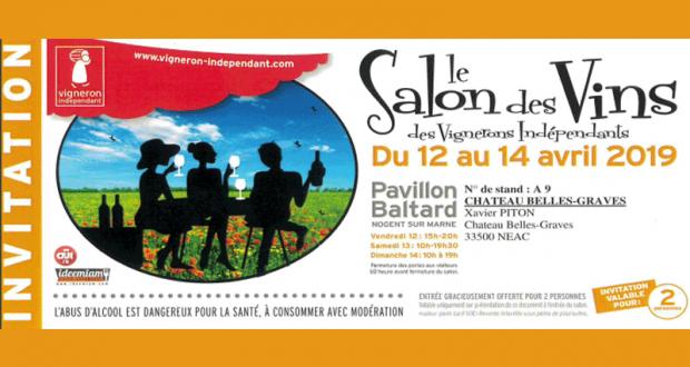 Invitation Gratuite pour 2 au Salon des vignerons indépendants