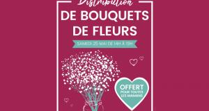 Distribution gratuite de bouquets de fleurs
