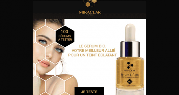 100 Sérums Liftants Bio Effet tenseur immédiat Miraclar à tester