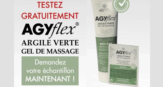 Échantillons Gratuits de Gel de massage Argile Verte AGYflex