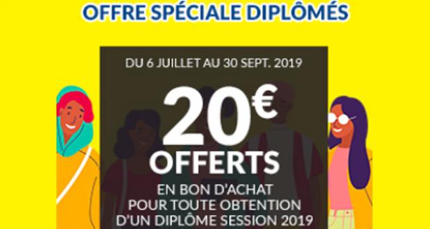 20€ offerts pour toute obtention d'un diplôme session 2019