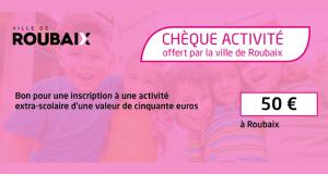 Chèque activité extra-scolaire de 50 euros Offert