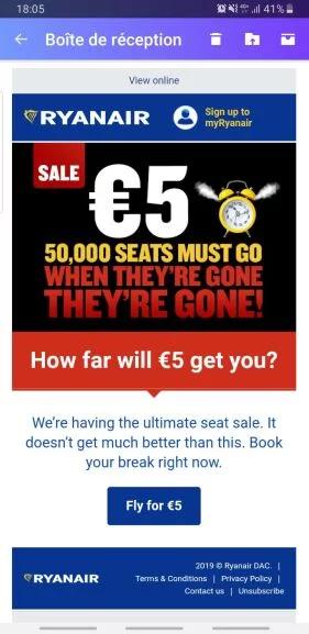 billets d'avion à partir de 5€