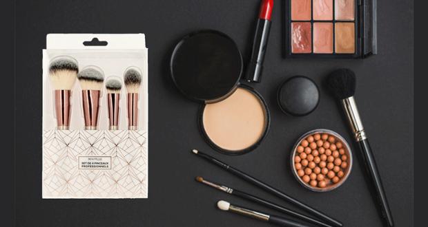 10 Sets de 4 pinceaux maquillage professionnels Rose Gold Beautélive