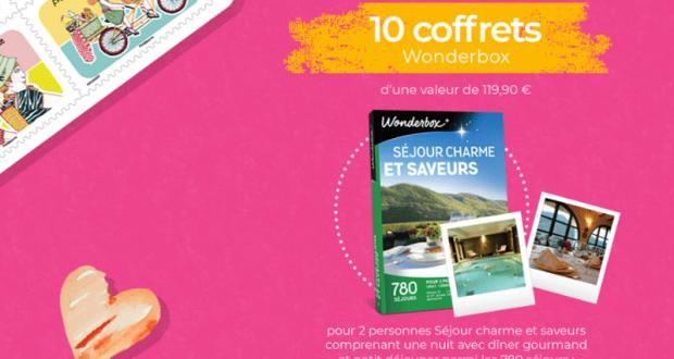 10 coffrets Wonderbox Séjour Charme et Saveurs offerts