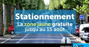 Stationnement gratuit en zone jaune - Nantes