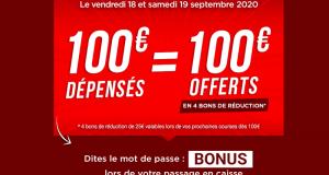 Géant 100€ dépensés = 100€ offerts