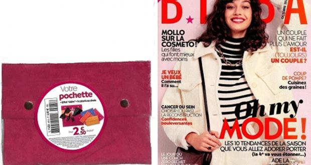 Magazine Biba une pochette effet daim pour 2.50€ de plus