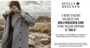 5 bons d'achat Mollybracken de 100€ offerts