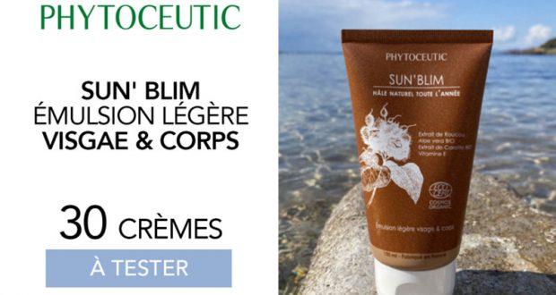 30 Crèmes Sun'blim Émulsion légère visage et corps Phytoceutic à tester