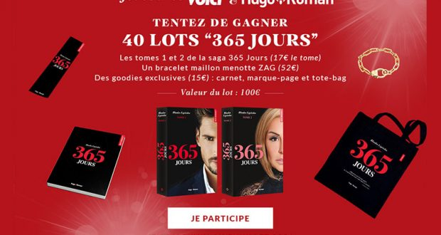 40 coffrets 365 jours offerts (2 romans + 1 bracelet + des goodies)