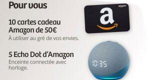 10 cartes cadeau Amazon de 50 euros offertes